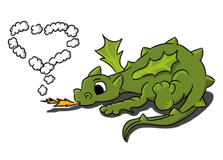 lying in: Cartoon small dragon with heart of smoke  Illustration