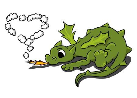 Cartoon small dragon with heart of smoke Stock Vector - 17690040