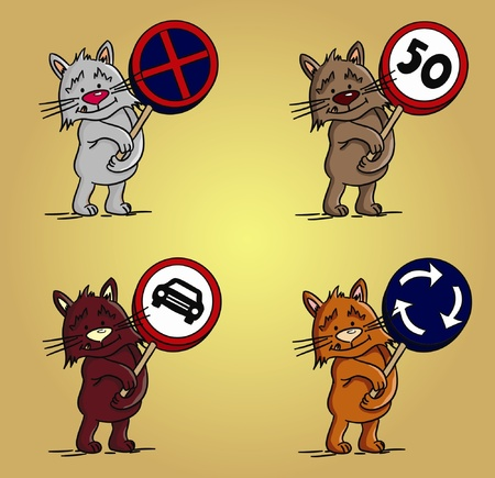 Cartoon cats with traffic signs