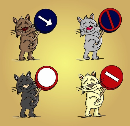 Four cartoon cats with traffic signs