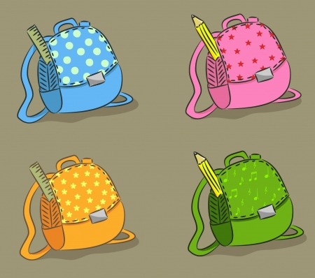 Four bags for schoolkids (vector)