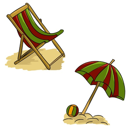 lounger: Cartoon summer stuff - lounger and parasol (vector)