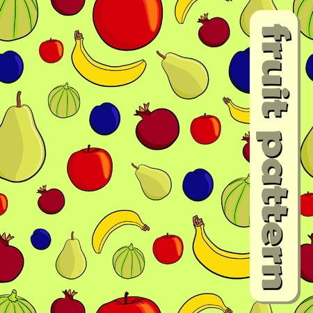 Seamless fruit pattern on green background (vector)