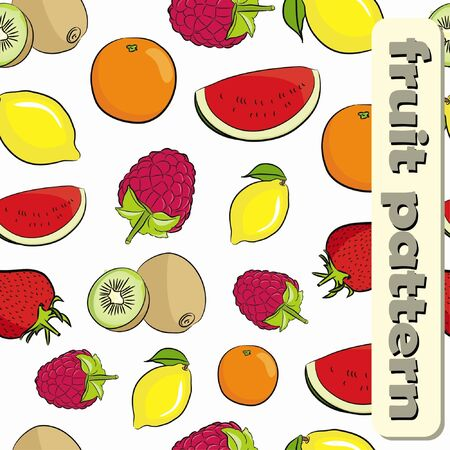Seamless fruit pattern on white background (vector)