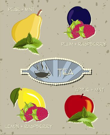 Icons of fruit and herbal tea (vector)