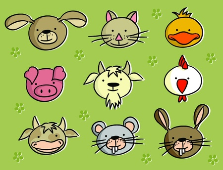 Cartoon heads of animals (vector)