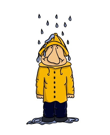 Cartoon man standing in the rain (vector)