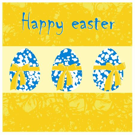 Easter greeting card with blue eggs