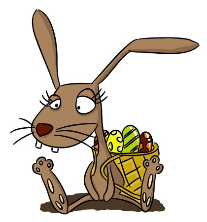 funny easter: Cartoon rabbit with basket