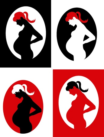 Four pregnant women Stock Vector - 17966435