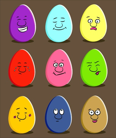 Cartoon funny easter eggs with expressions