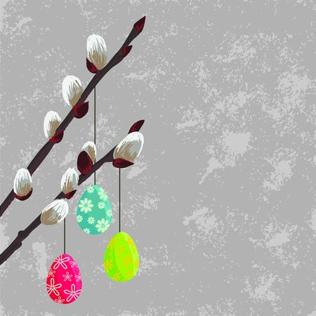 Easter gray design with spring twig and eggs Illustration