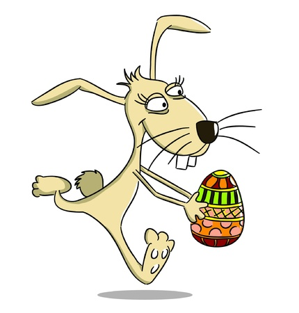 Cartoon easter running rabbit