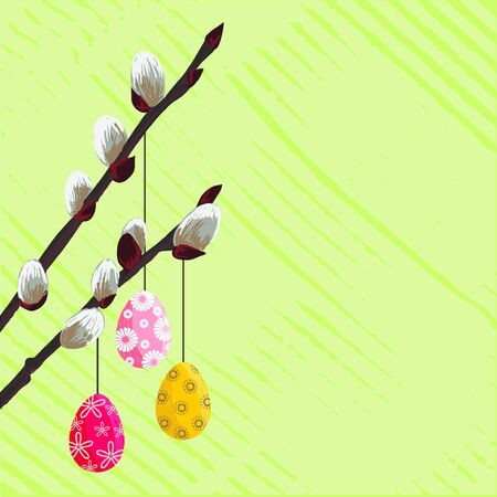 Easter green design with spring twig and eggs Illustration