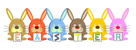 Easter rabbits (vector)