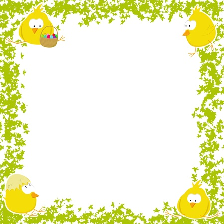 Easter frame with four chicken Vector