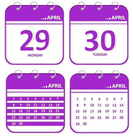 April calendar -29,30 and whole dates day  Illustration