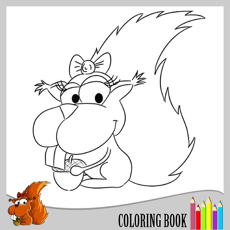 Coloring book - squirrel (vector) Illustration