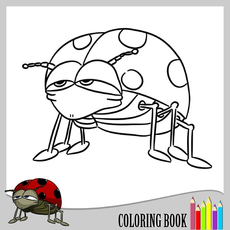 Coloring book - ladybug  Vector