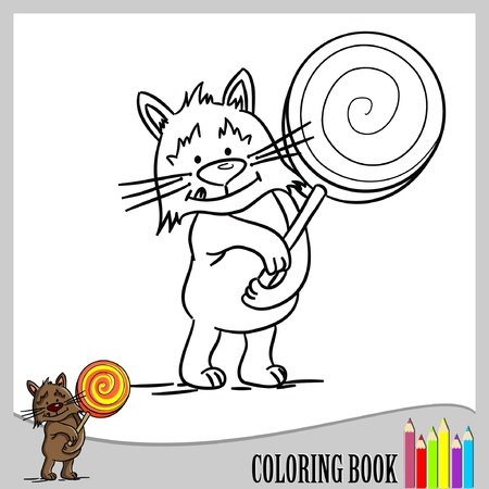 Coloring book - Cat with lollipop (vector)  Çizim