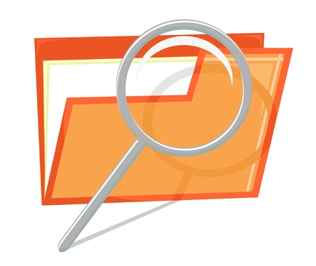 Orange icon of file with magnifier (vector)