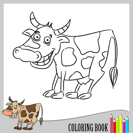 Coloring book - funny cow (vector)  Vector