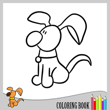 Coloring book - funny dog (vector)