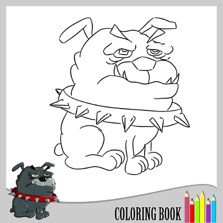 Coloring book - bulldog (vector)