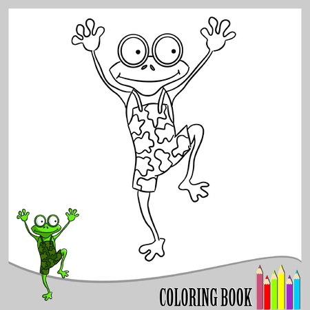 Coloring book - jumping frog  Vector