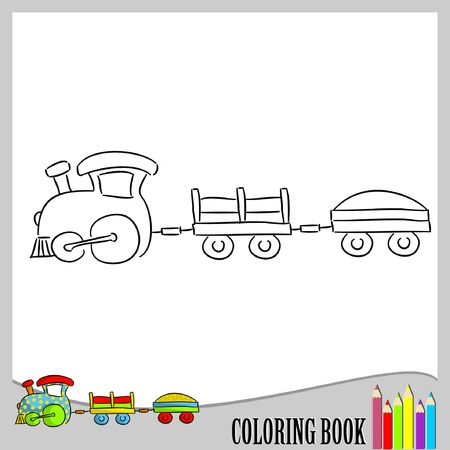 Coloring book - small train  Illustration