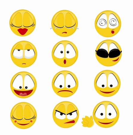 Set of 12 smileys Vector