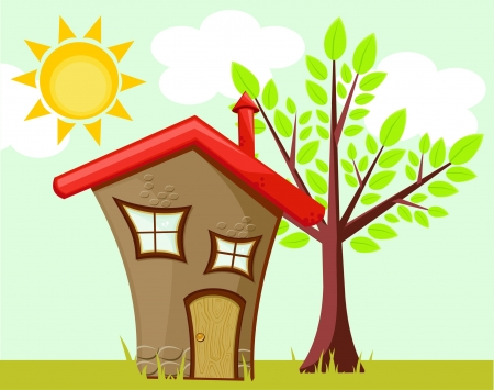 funny house and tree  Vector