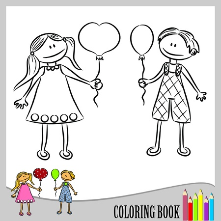 Coloring book - children with balloons (vector)  Çizim