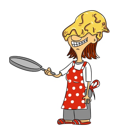 funny pictures: Cartoon woman - cook making pancakes (vector)