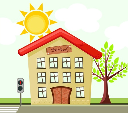 Vector schoolhouse and traffic lights