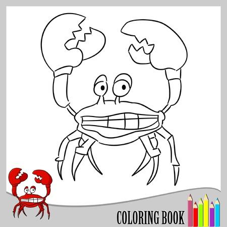 children crab: Coloring book - funny crab (vector)