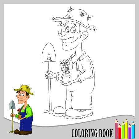 Coloring book - gardener  Vector