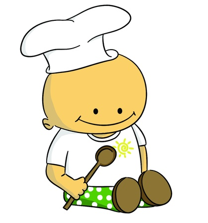 Cartoon small baby as cook