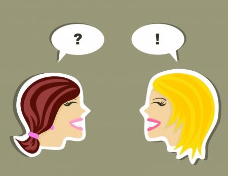 women talking: Two women talking  Illustration