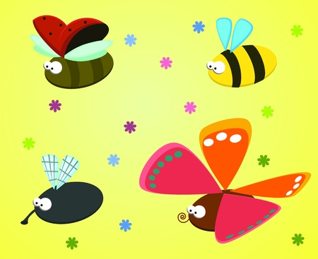 Set of funny insect - fly, ladybug, bee, butterfly   Vector