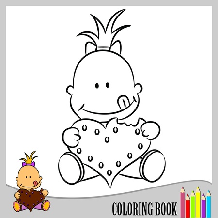 Coloring book - small baby girl with gingerbread