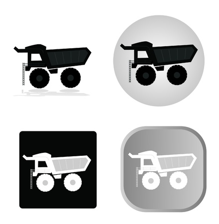 Set of dumper icons - black and white  Çizim