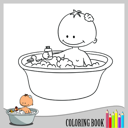 Coloring book - baby has a bath  vector  Vector