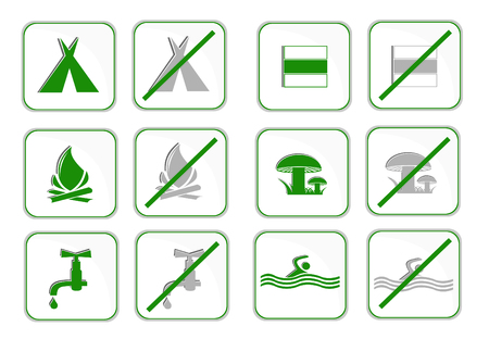 Pictograms of camping