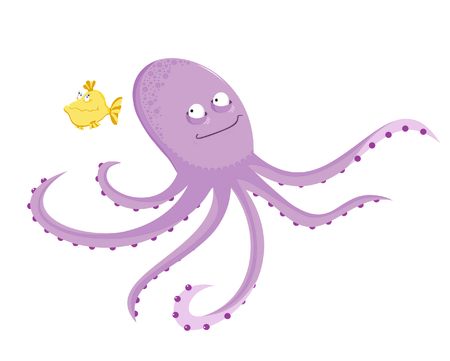 Funny violet octopus with yellow small fish  Illustration