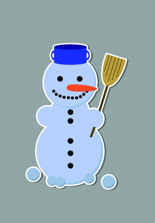 Cartoon smiling snowman