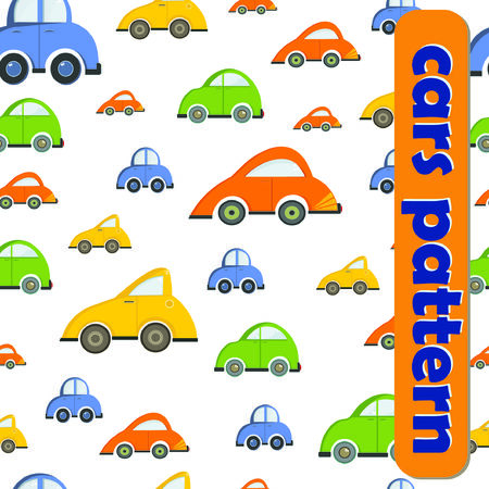Seamless pattern with colorful cars Çizim