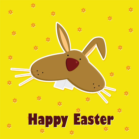 Card with easter bunny  vector