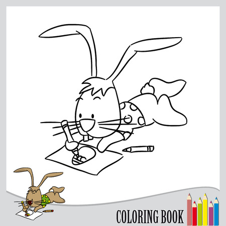 Coloring book - cute easter bunny drawing egg  vector