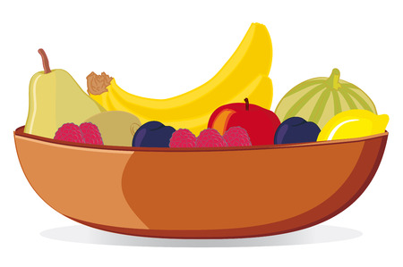 Bowl with various fruit  vector   Çizim